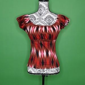 NWOT Pinup Girl Peasant Top Brown Harlequin Print